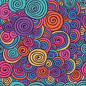 Abstract Colorful Hand Sketched Swirls Seamless Background Pattern