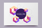 Abstract colorful isometric background. Horizontal minimalistic poster with isometric cubes and place for text. Applicable for party invitation, conference invite, avertising, web page, flyer etc.