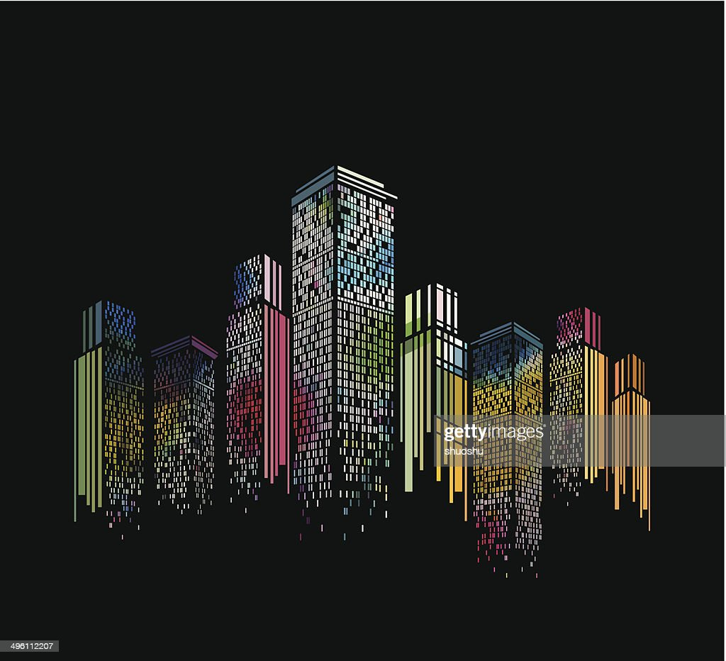 abstract colorful modern building pattern with black background : Stock Illustration