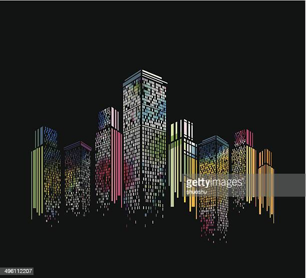 abstract colorful modern building pattern with black background - skyline stock illustrations