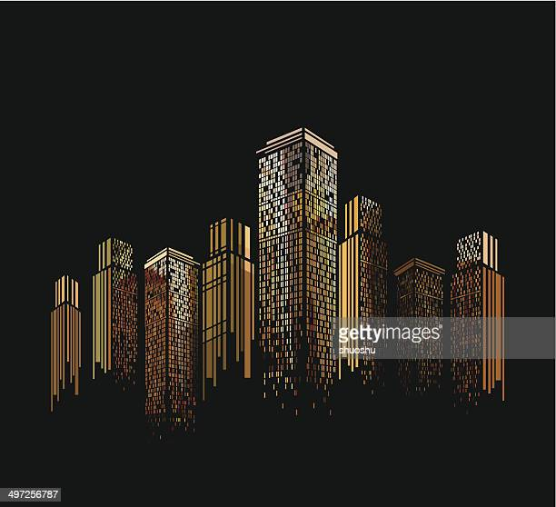 abstract colorful modern building pattern with black background - skyscraper stock illustrations