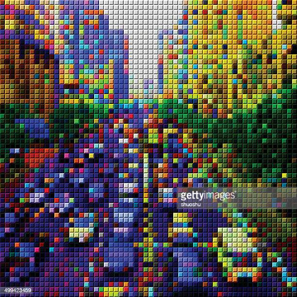 abstract colorful mosaic check city transportation pattern background - human settlement stock illustrations, clip art, cartoons, & icons
