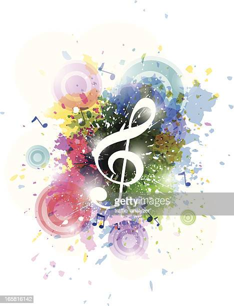 abstract colorful music background - treble clef stock illustrations, clip art, cartoons, & icons