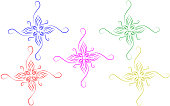 Abstract colorful ornamental design elements with white background.