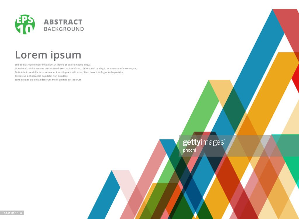 Abstract colorful overlap triangle pattern on white background with copy space