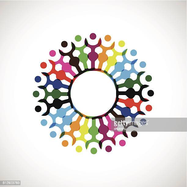 abstract colorful people with hand together icon for design