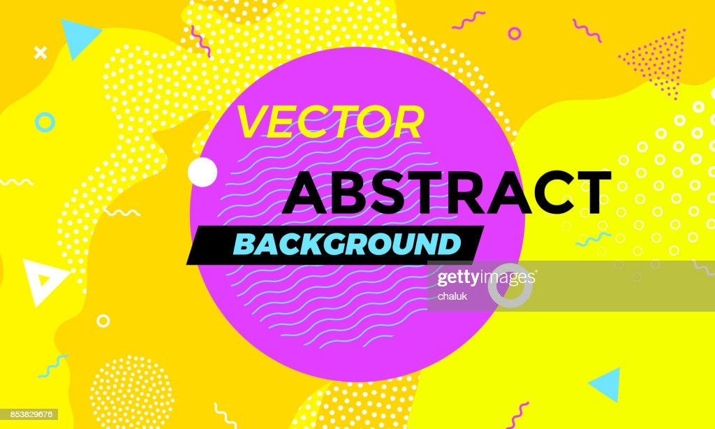Abstract colorful playful banner background with fun texture design element. Vector overlay orange pattern with white geometric forms with line and dots in trendy graphic.