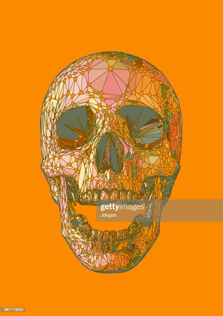 Abstract colorful skull on orange color theme BG