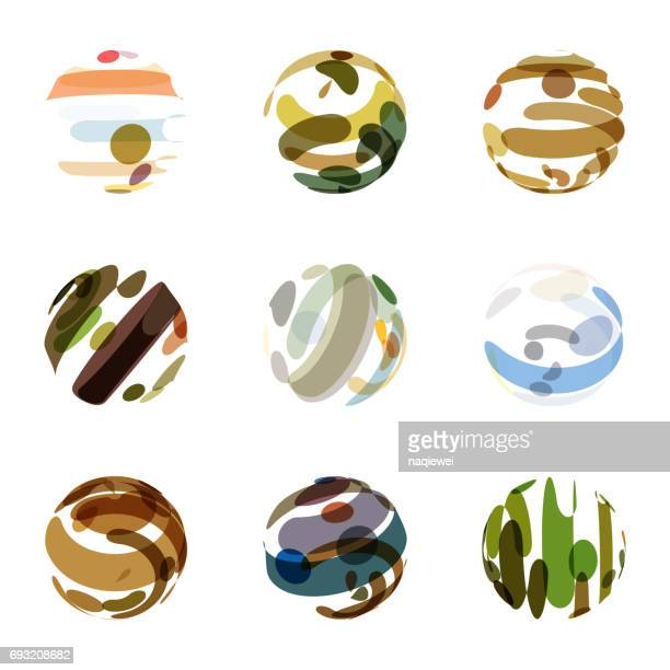 Abstract Colorful Sphere Pattern Icon Collection