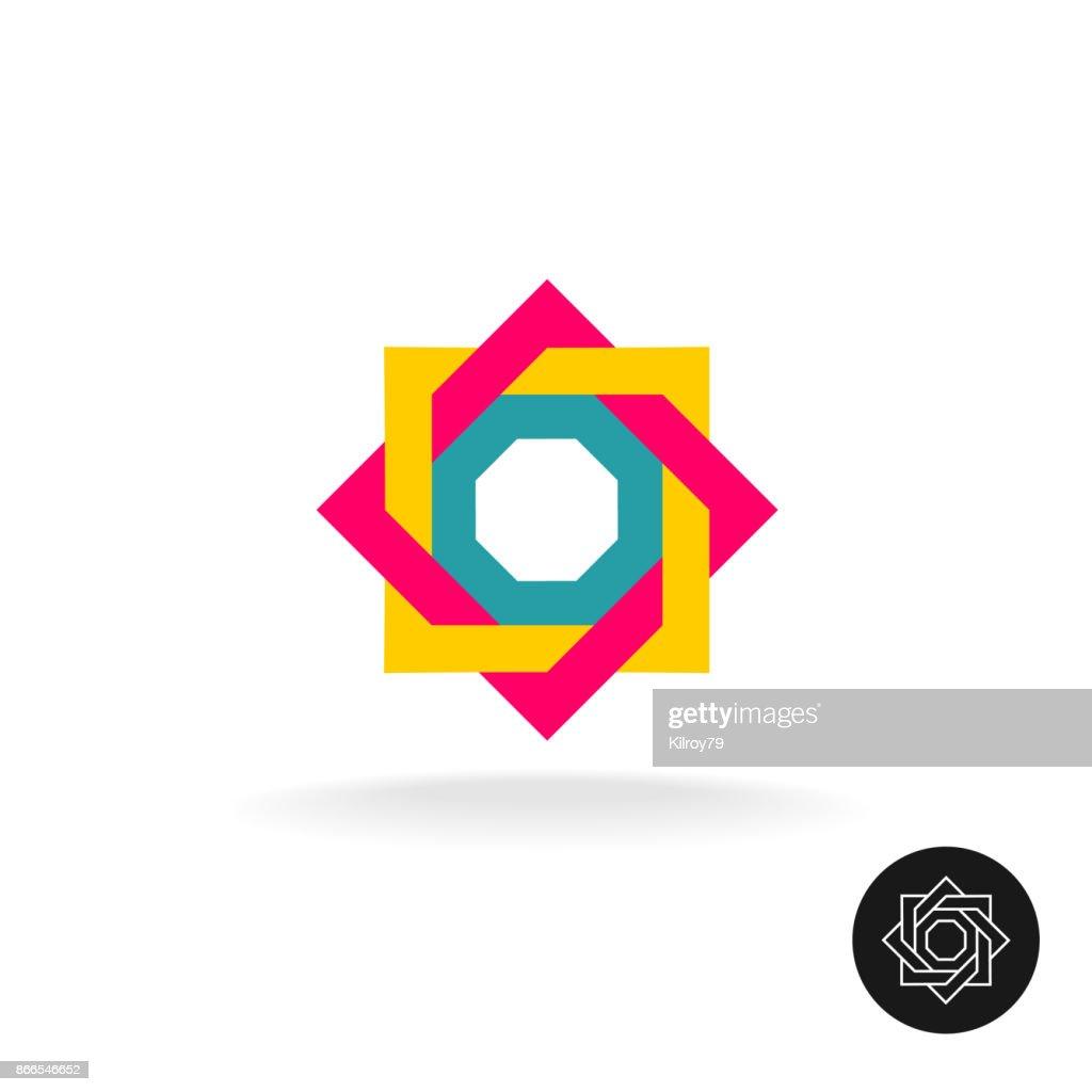 Abstrakte Bunte Quadratischen Rahmen Ecke Symbol Umrissversion Inkl ...