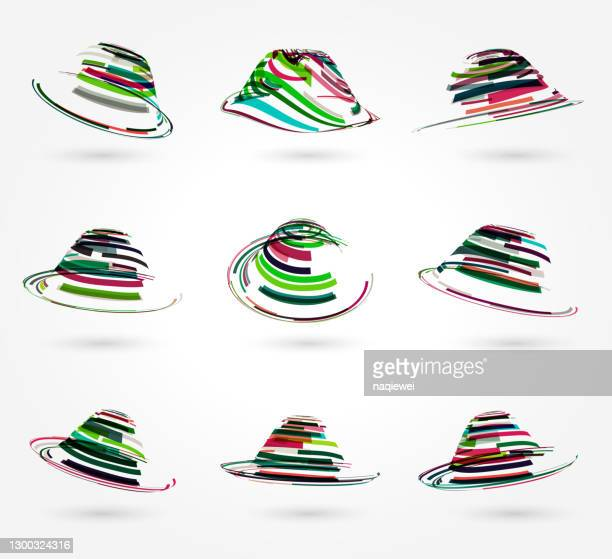 abstract colorful swirl stripes ring pattern icon collection,top hat - animated zebra stock illustrations