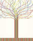 Abstract colorful tree from lines. Vector