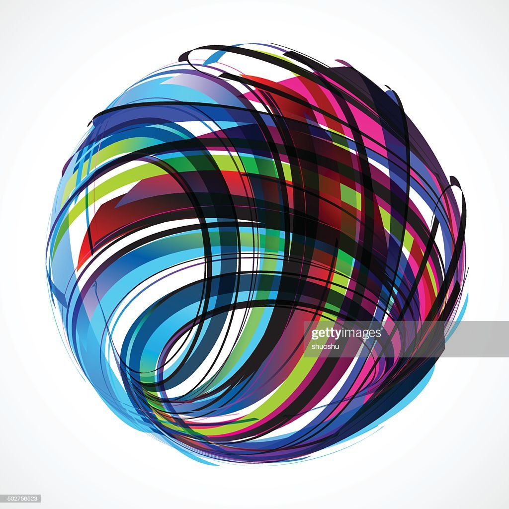 abstract colorful wave stripe ball pattern