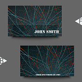 Abstract communication network background. Fractal element with lines and dots array. Big data connection complex concept. Business card template with abstract background. Eps10 Vector illustration