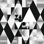 Abstract composition of geometric shapes with chaotic scatter dots gradients. Black and white pattern, background, cover , layout , magazine, brochure , poster.