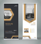 Abstract composition. White roll up brochure cover design. Info banner frame. Text font. Title sheet model set. Modern vector front page. City view brand flag. Triangle figures icon. Ad flyer fiber
