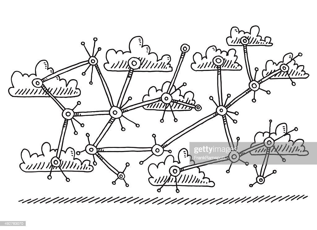 abstrakte zeichnung wolke netzwerkcomputer vektorgrafik