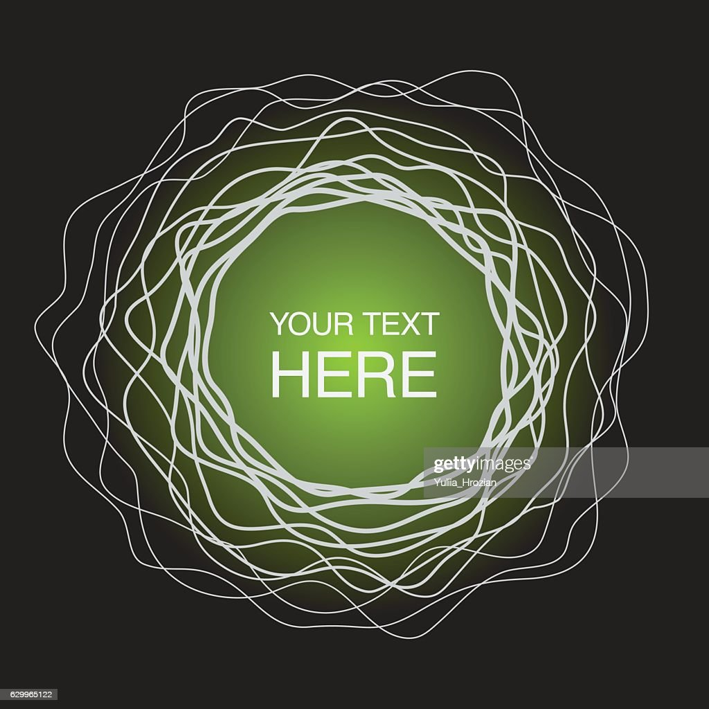 Abstract concentric circles frame on neon green light background
