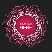 Abstract concentric circles frame on neon pink light background