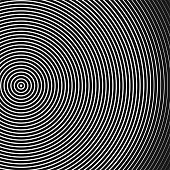 Abstract concentric circles texture in black and white colors, background pattern in modern style.