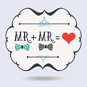 Abstract conceptual emblem Mr. plus Mr. equals red heart icons