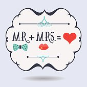 Abstract conceptual emblem MR. plus MRS. equals red heart icons