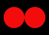 Abstract - Couple of red circles on black background - Vector