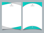 Abstract creative letterhead design template light blue color geometric triangle and curve shape overlay on white background.