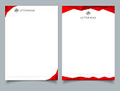Abstract creative letterhead design template red color geometric triangle overlay on white background.