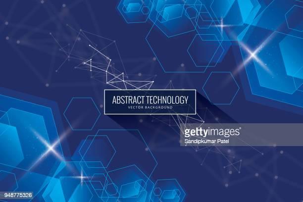 ilustrações de stock, clip art, desenhos animados e ícones de abstract cube hexagon shape innovative concept background - panorâmica