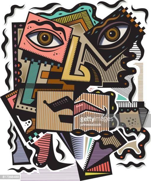 Abstract cubist head vector illustration