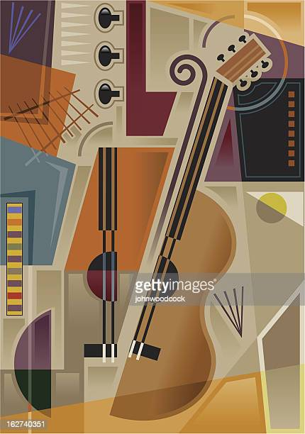 abstract cubist music - pablo picasso stock illustrations