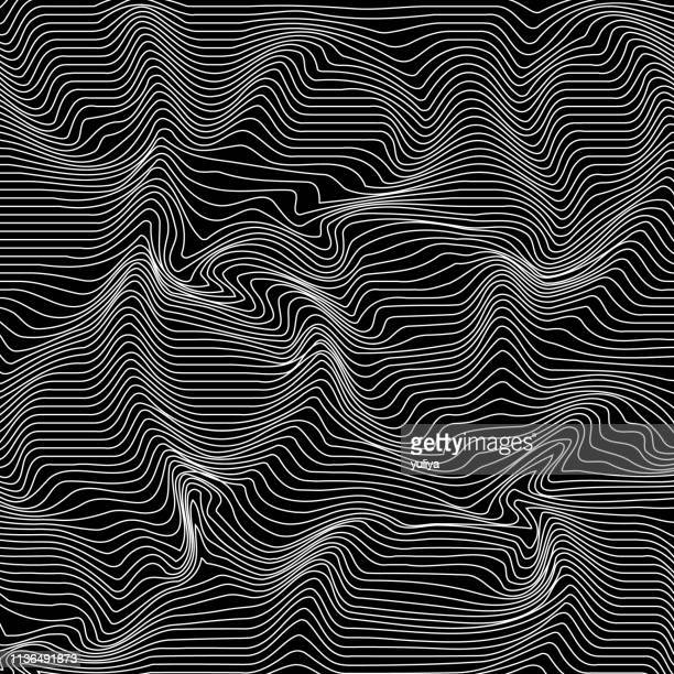 abstract curved lines background in black and white color wave pattern - bending stock illustrations