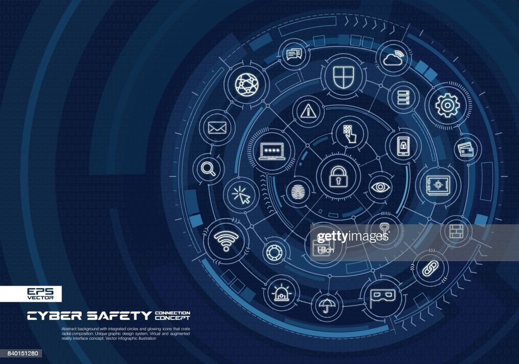 Abstract cyber security background. Digital connect system with integrated circles, glowing thin line icons.