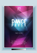 Abstract Dance Party Night Poster, Flyer Template - Vector Illustration