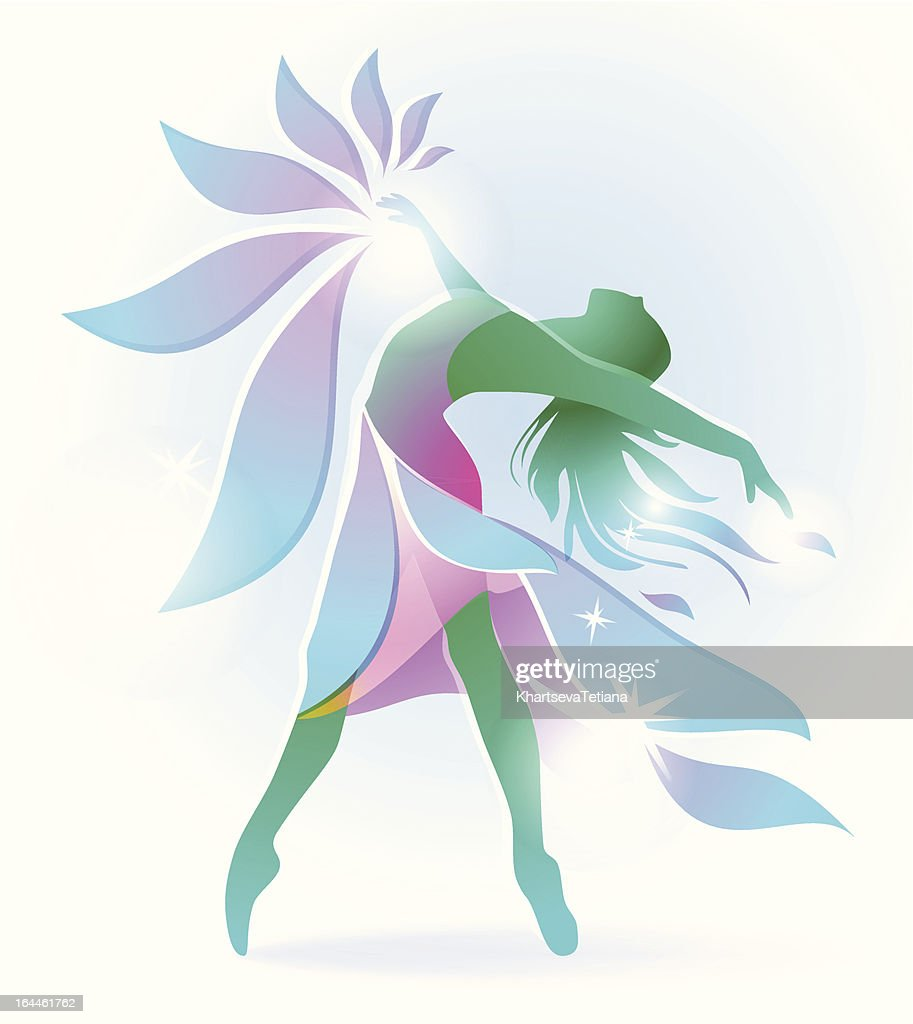 abstract dancing girl with a flower