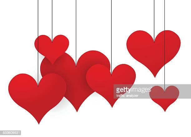 Abstract dangling hearts