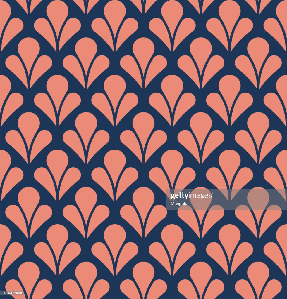 Abstract Decorative Tile. Geometric Ginkgo Seamless Pattern. Floral background.