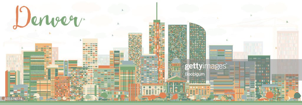 Abstract Denver Skyline with Color Buildings.
