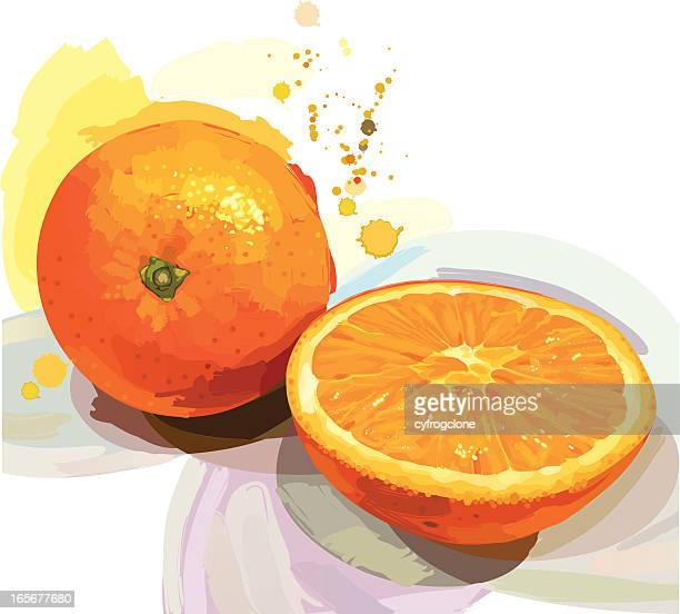 Abstract design of an orange and an orange cut in half