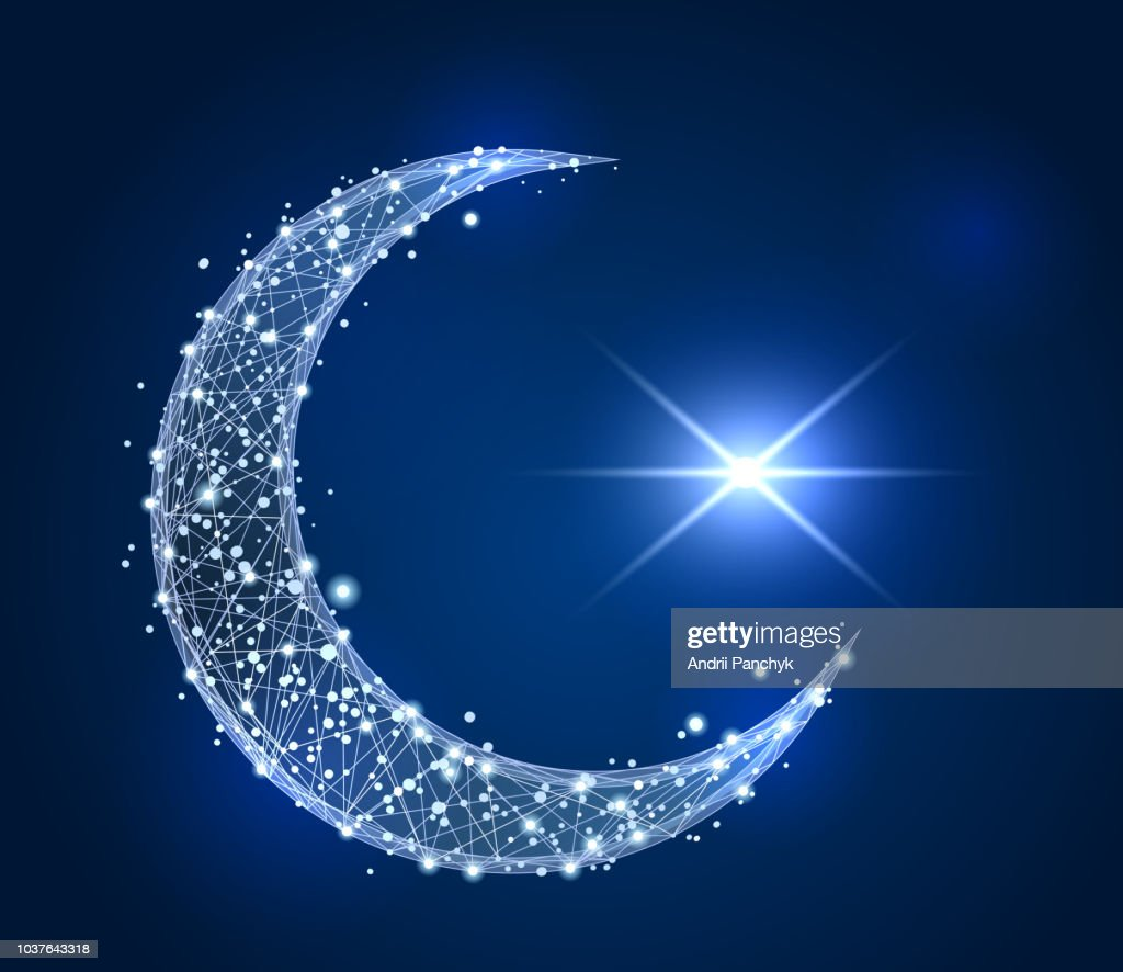 Abstract design of Crescent Islamic symbol. low poly wireframe on space background.