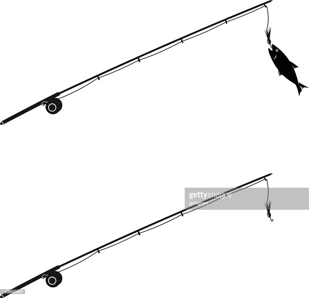Abstract design of two fishing rods, one with fish caught