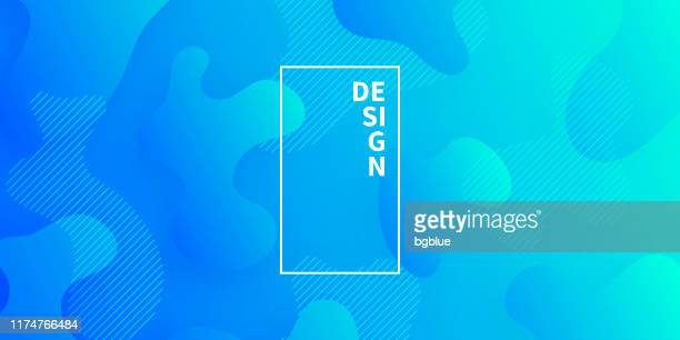 abstract design with fluid shapes on blue gradient background - green and blue background stock illustrations