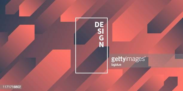 abstract design with geometric shapes - trendy orange gradient - tilt stock illustrations