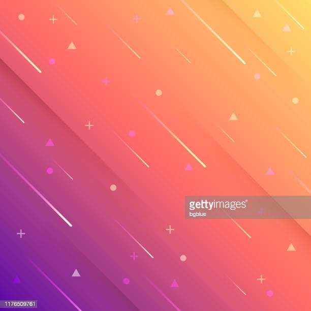 illustrazioni stock, clip art, cartoni animati e icone di tendenza di design astratto con forme geometriche - trendy orange gradient - sfondo giallo