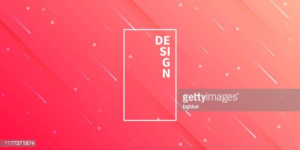 abstract design with geometric shapes - trendy red gradient - meteor stock illustrations