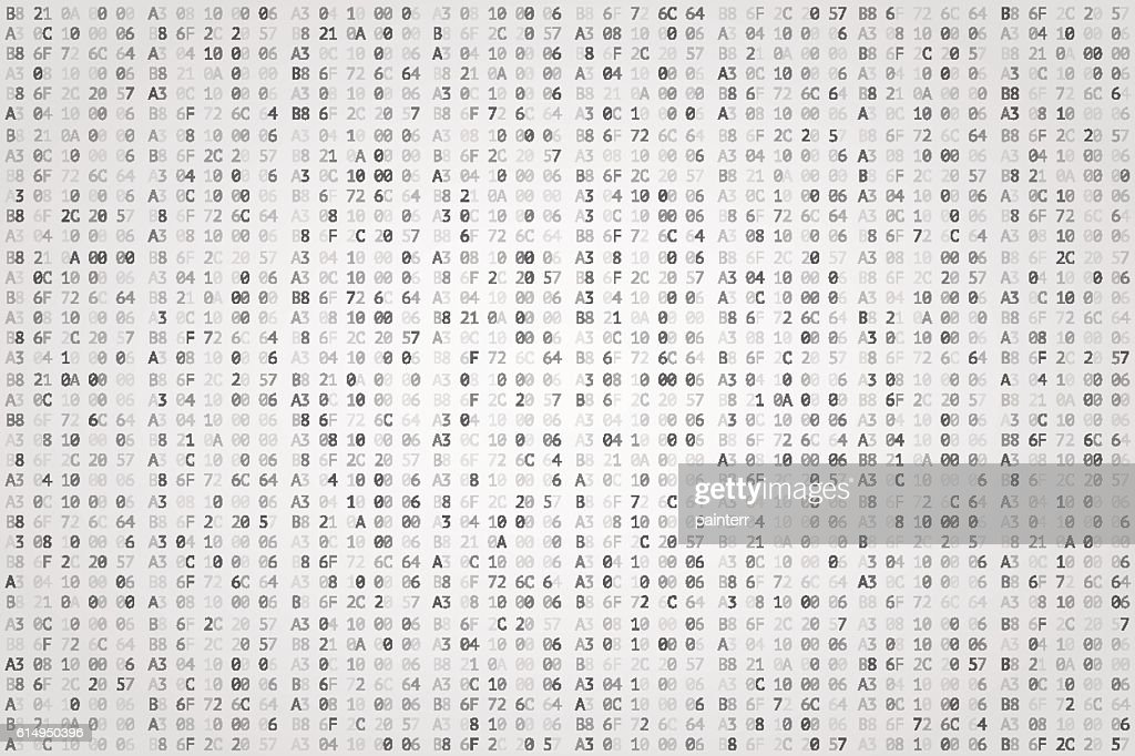 Abstract digital background. Random digits and letters colored illustration.