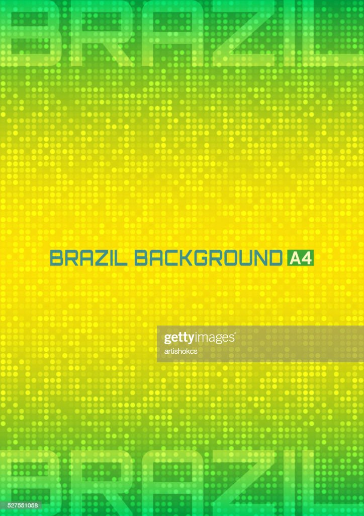 Abstract digital background using Brazil flag colors 2016, A4 format.