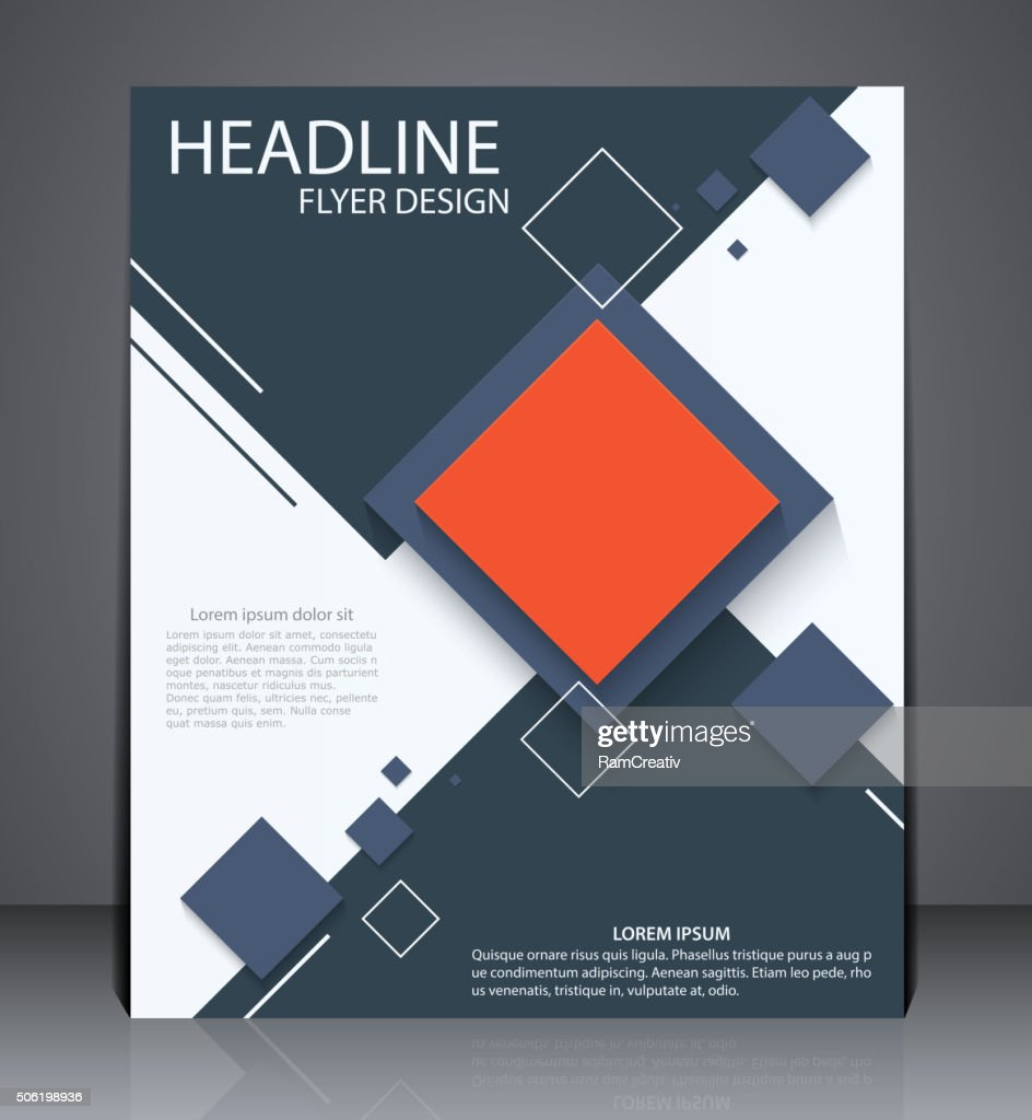 Abstract digital business brochure flyer, geometric design with squares