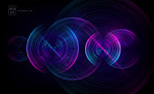 Abstract digital future wave lines vector background in circle shape. Tech music sound concept. Electronic light rounds illustration on black backdrop